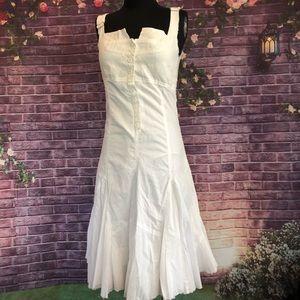 Desigual White Cotton Corset Style Flared Dress